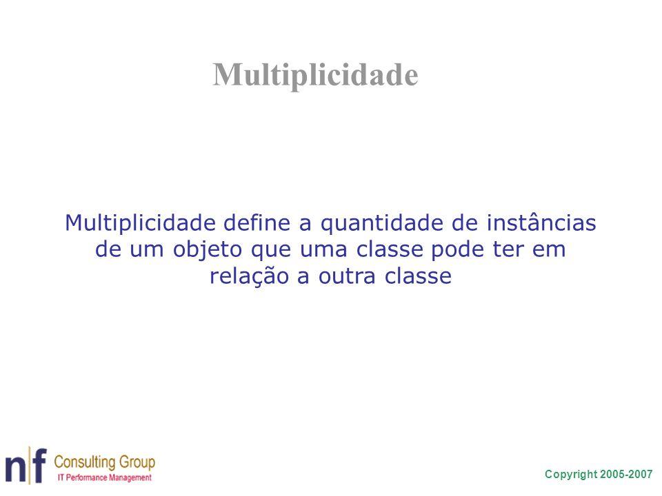 Multiplicidade Multiplicidade define a quantidade de instâncias de um objeto que uma classe pode ter em relação a outra classe.
