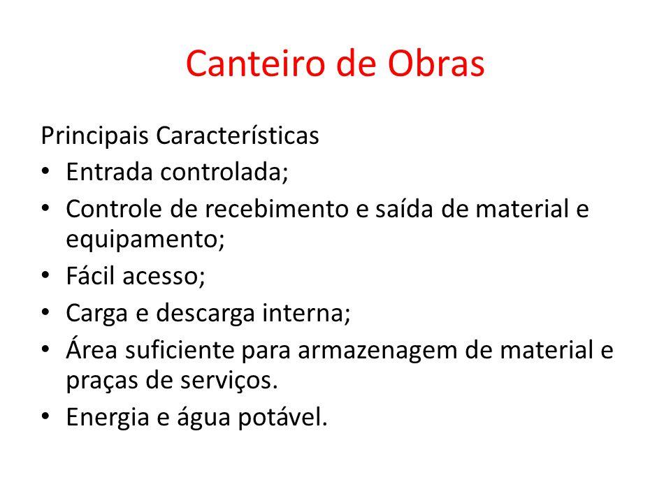 Canteiro de Obras Principais Características Entrada controlada;