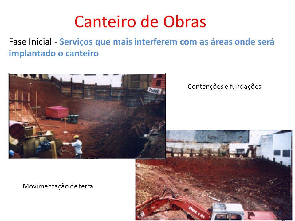 Canteiro de Obras Fase Inicial - Serviços que mais interferem com as áreas onde será implantado o canteiro.