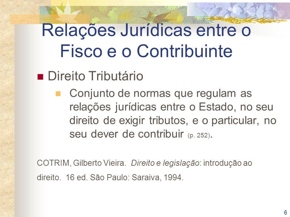 Relações Jurídicas entre o Fisco e o Contribuinte