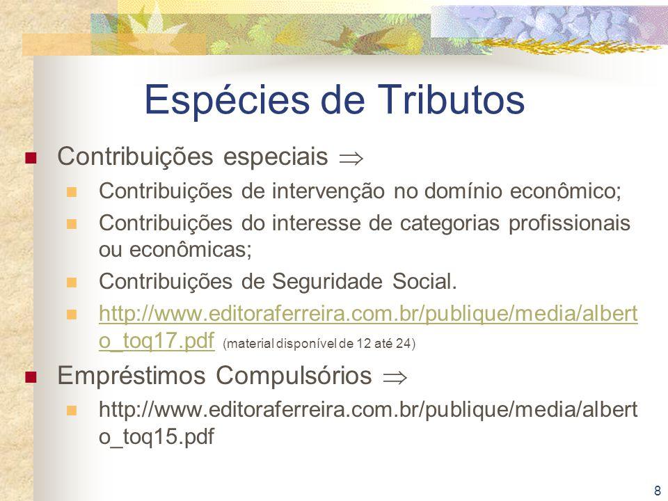 Espécies de Tributos Contribuições especiais 