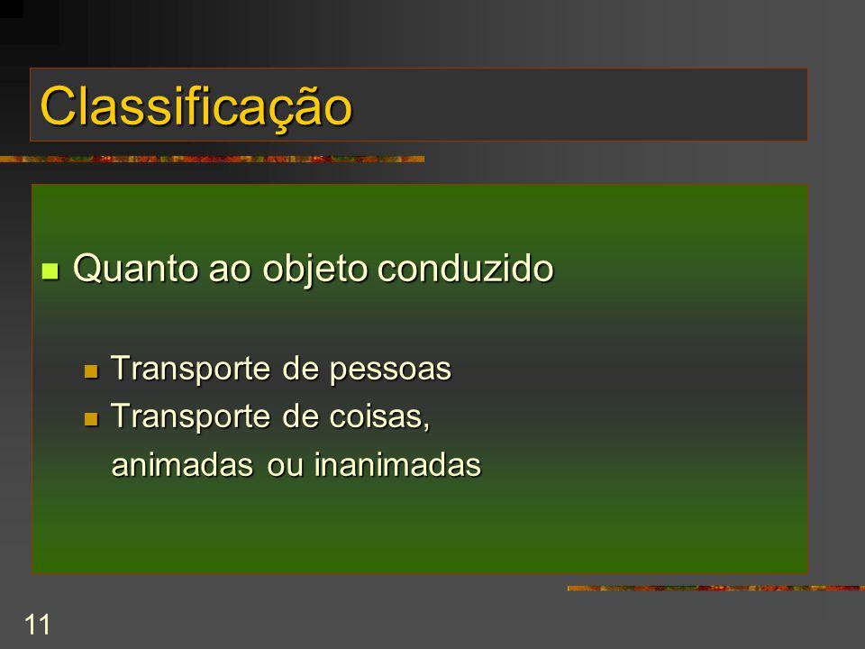 Classificação Quanto ao objeto conduzido Transporte de pessoas