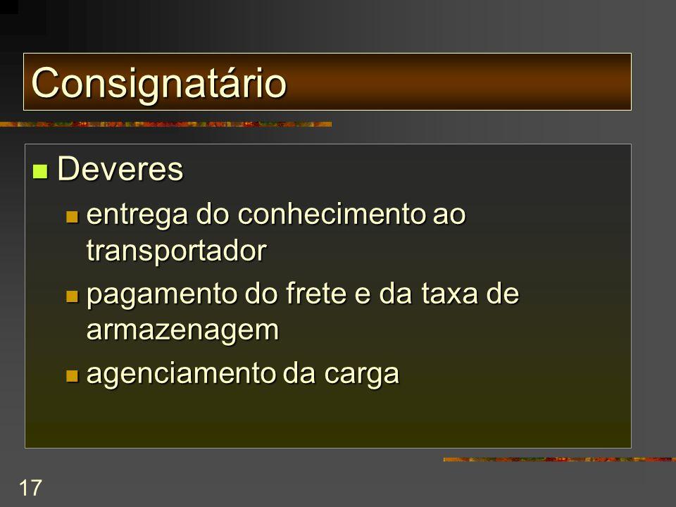 Consignatário Deveres entrega do conhecimento ao transportador