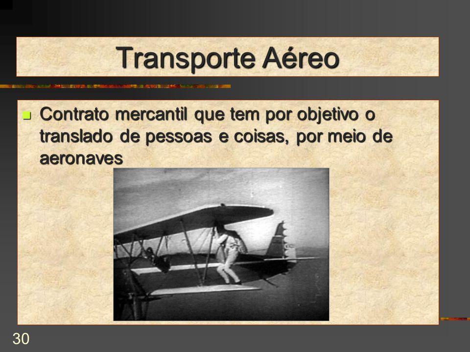 Transporte Aéreo Contrato mercantil que tem por objetivo o translado de pessoas e coisas, por meio de aeronaves.