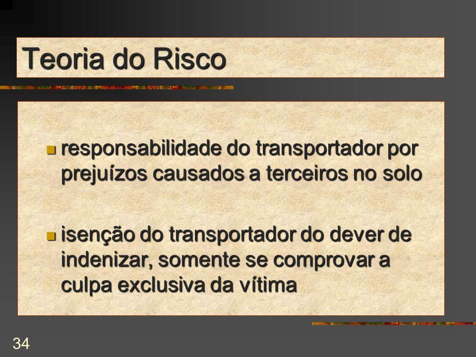 Teoria do Risco responsabilidade do transportador por prejuízos causados a terceiros no solo.