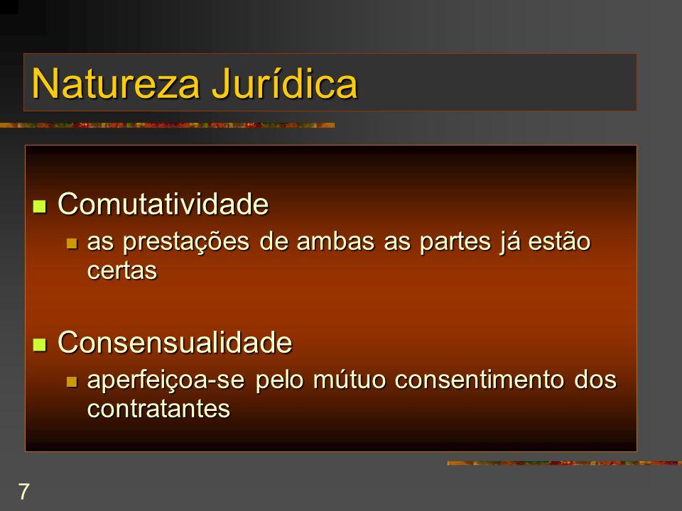 Natureza Jurídica Comutatividade Consensualidade