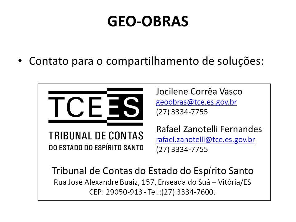 GEO-OBRAS Contato para o compartilhamento de soluções: