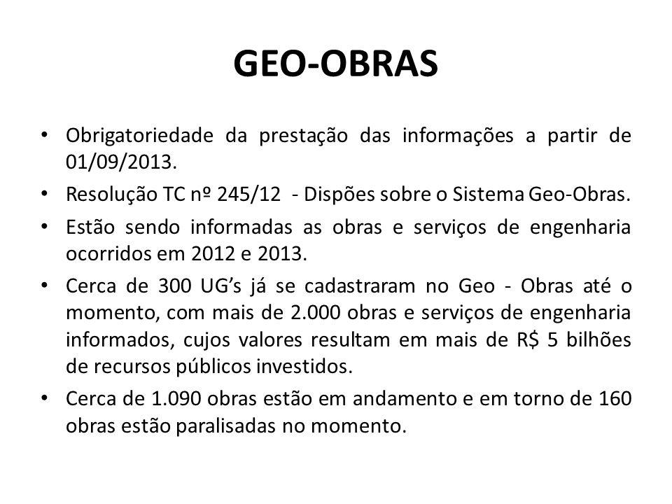 GEO-OBRAS Obrigatoriedade da prestação das informações a partir de 01/09/2013. Resolução TC nº 245/12 - Dispões sobre o Sistema Geo-Obras.