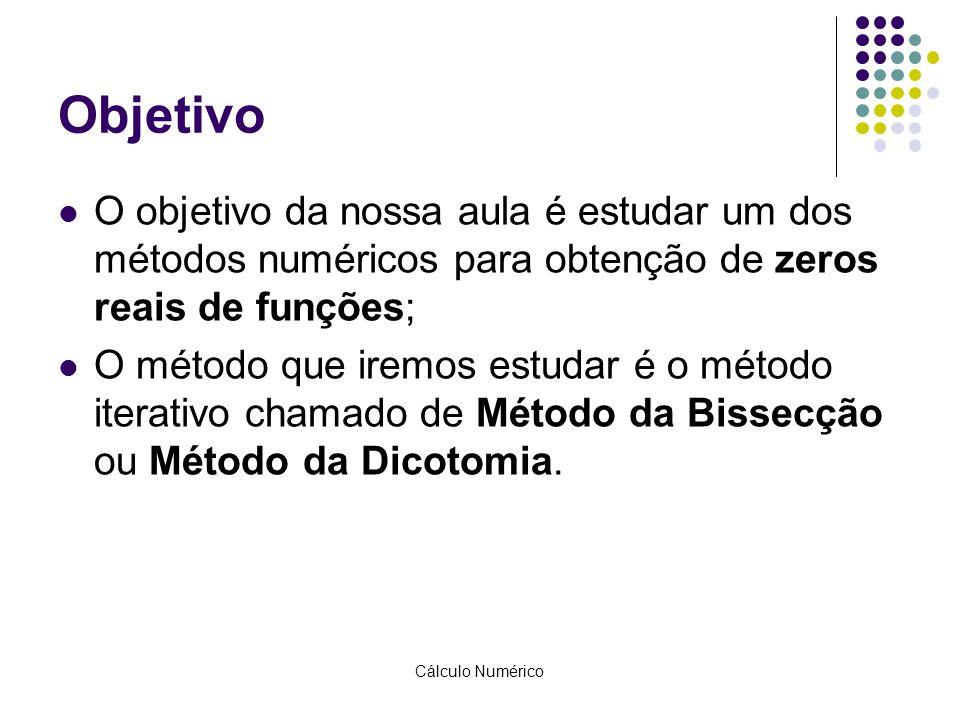 Objetivo O objetivo da nossa aula é estudar um dos métodos numéricos para obtenção de zeros reais de funções;