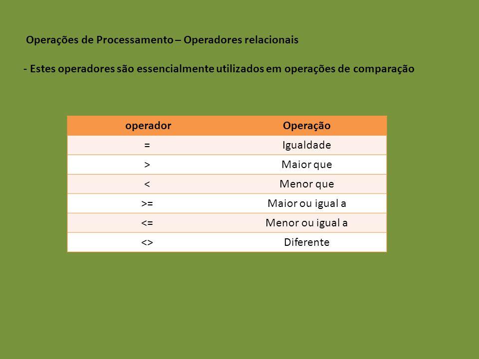 Operações de Processamento – Operadores relacionais