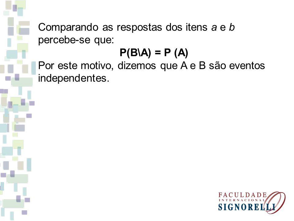 Comparando as respostas dos itens a e b