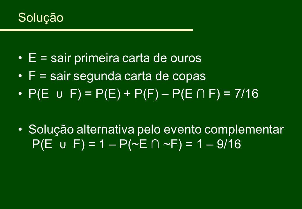 Solução E = sair primeira carta de ouros. F = sair segunda carta de copas. P(E υ F) = P(E) + P(F) – P(E ∩ F) = 7/16.
