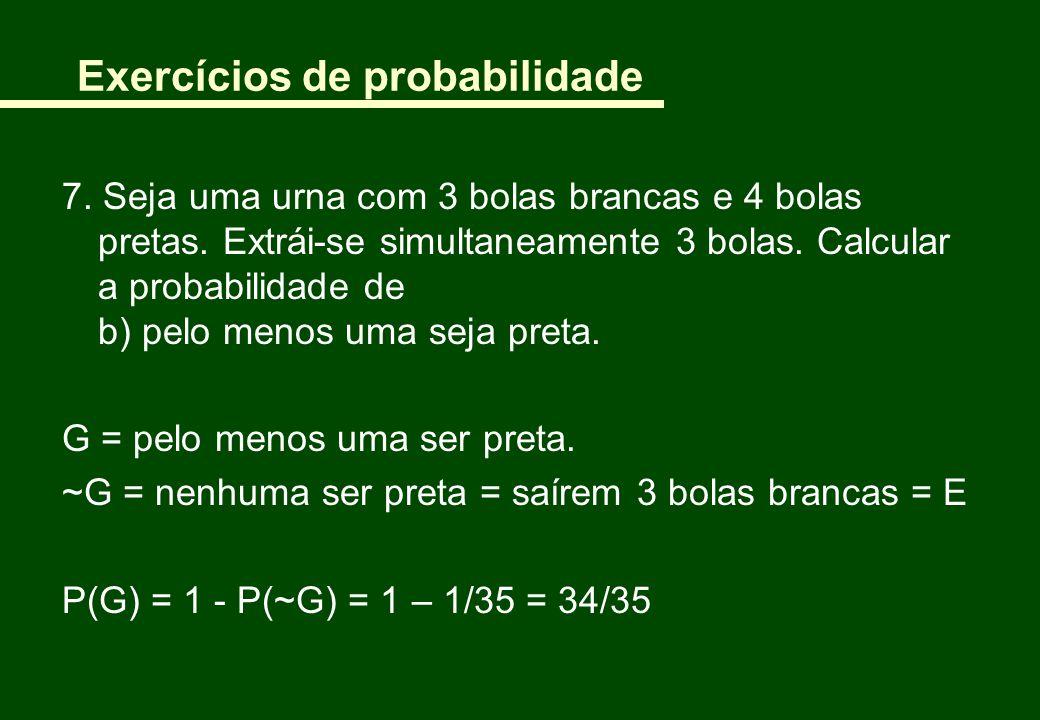 Exercícios de probabilidade