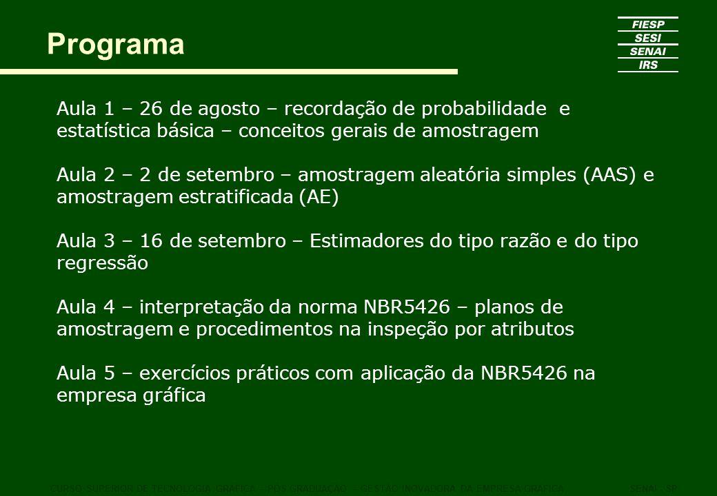 Programa Aula 1 – 26 de agosto – recordação de probabilidade e estatística básica – conceitos gerais de amostragem.