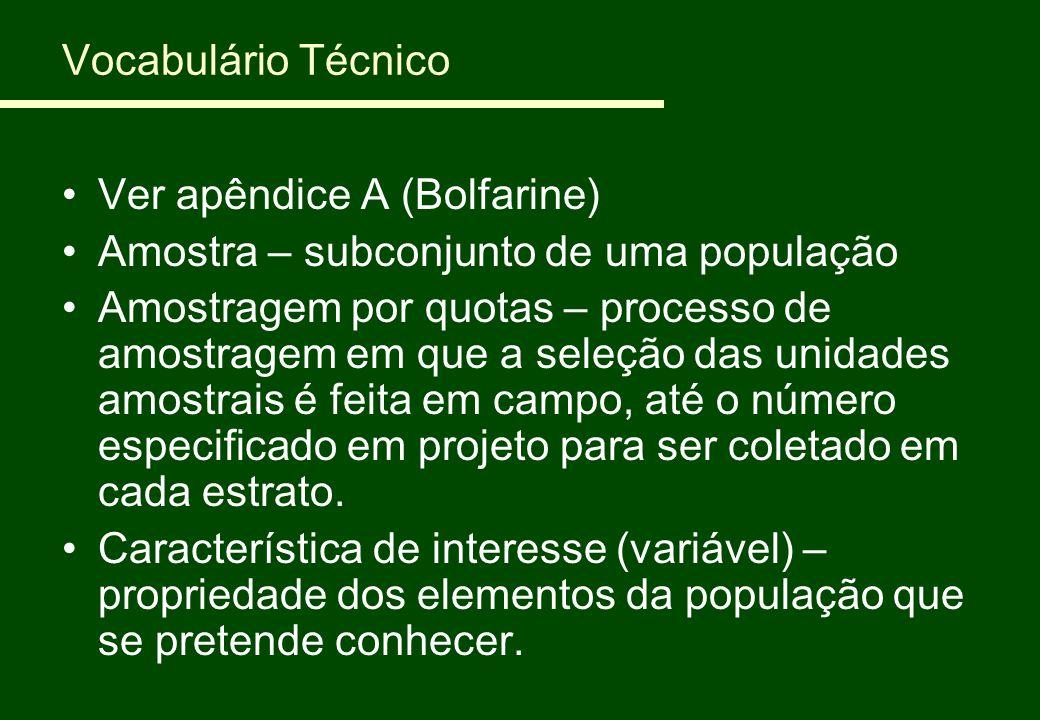 Vocabulário Técnico Ver apêndice A (Bolfarine) Amostra – subconjunto de uma população.