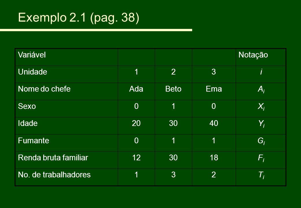 Exemplo 2.1 (pag. 38) Variável Notação Unidade 1 2 3 i Nome do chefe