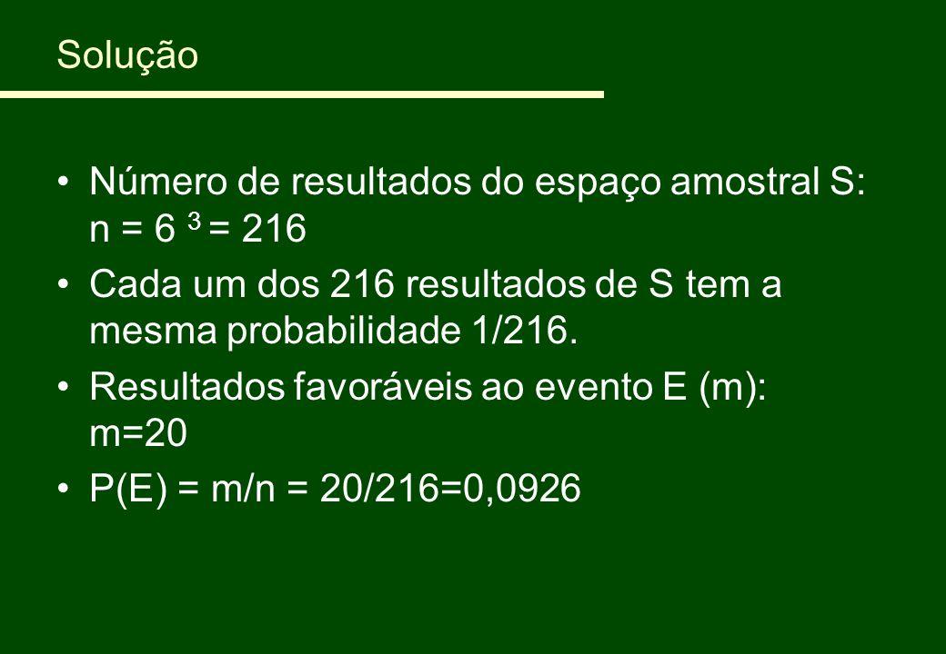 Solução Número de resultados do espaço amostral S: n = 6 3 = 216. Cada um dos 216 resultados de S tem a mesma probabilidade 1/216.