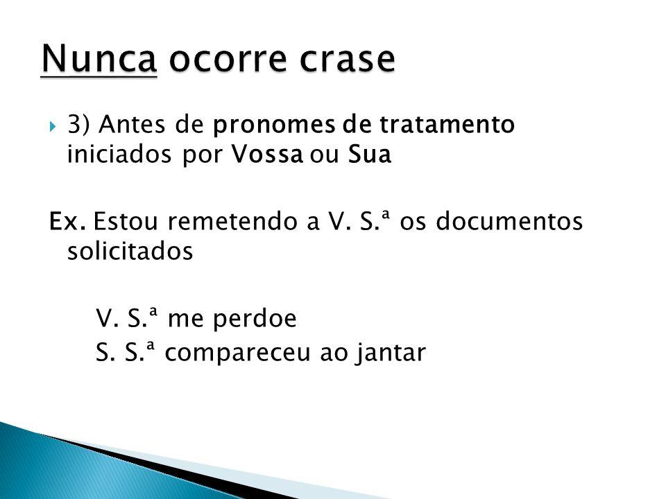 Nunca ocorre crase 3) Antes de pronomes de tratamento iniciados por Vossa ou Sua. Ex. Estou remetendo a V. S.ª os documentos solicitados.