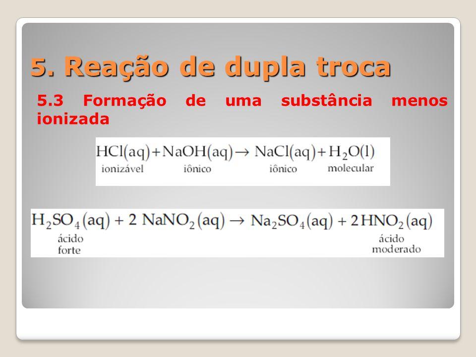5. Reação de dupla troca 5.3 Formação de uma substância menos ionizada