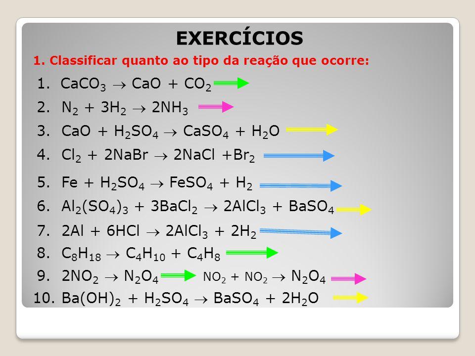 EXERCÍCIOS CaCO3  CaO + CO2 2. N2 + 3H2  2NH3