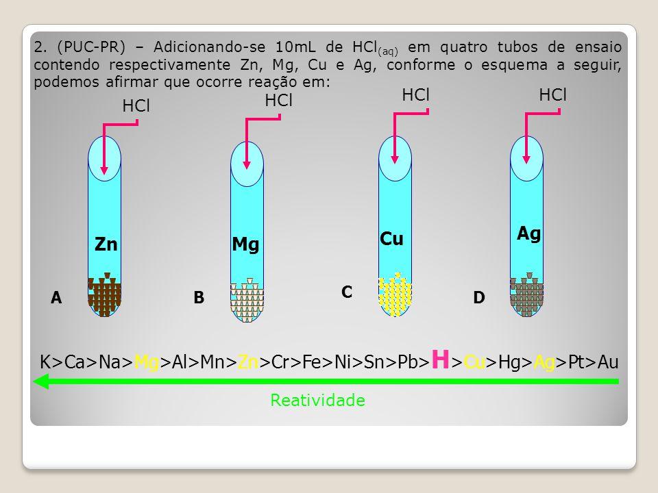 2. (PUC-PR) – Adicionando-se 10mL de HCl(aq) em quatro tubos de ensaio contendo respectivamente Zn, Mg, Cu e Ag, conforme o esquema a seguir, podemos afirmar que ocorre reação em: