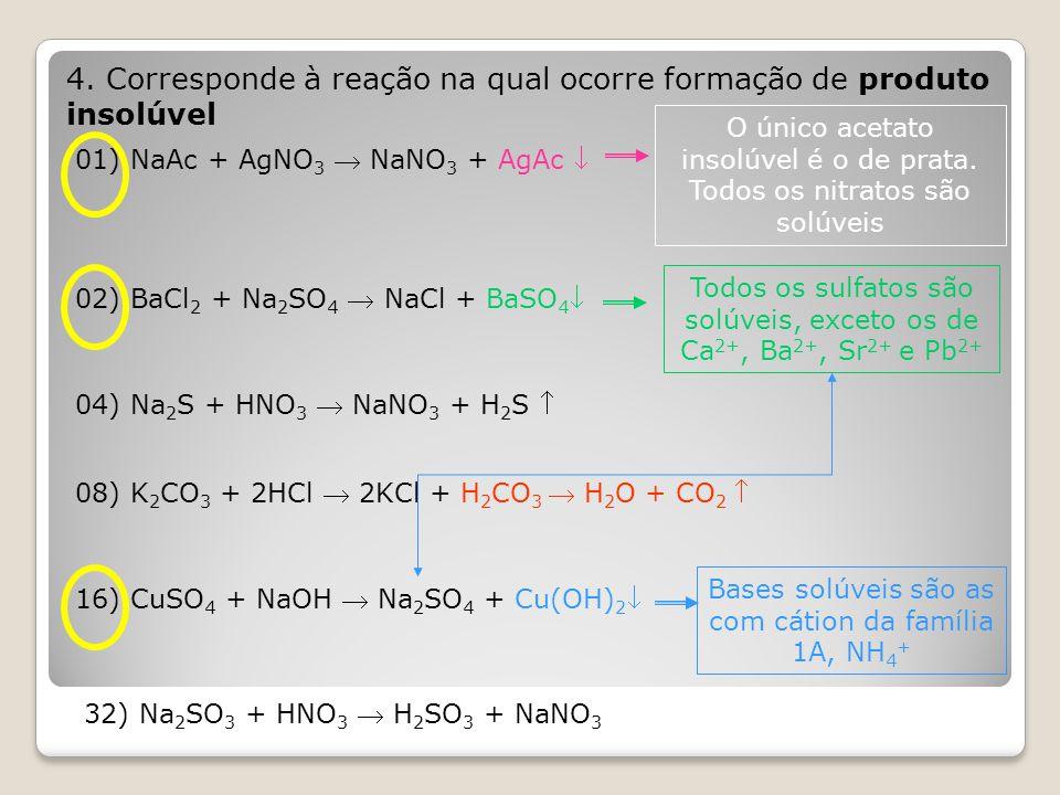 4. Corresponde à reação na qual ocorre formação de produto insolúvel