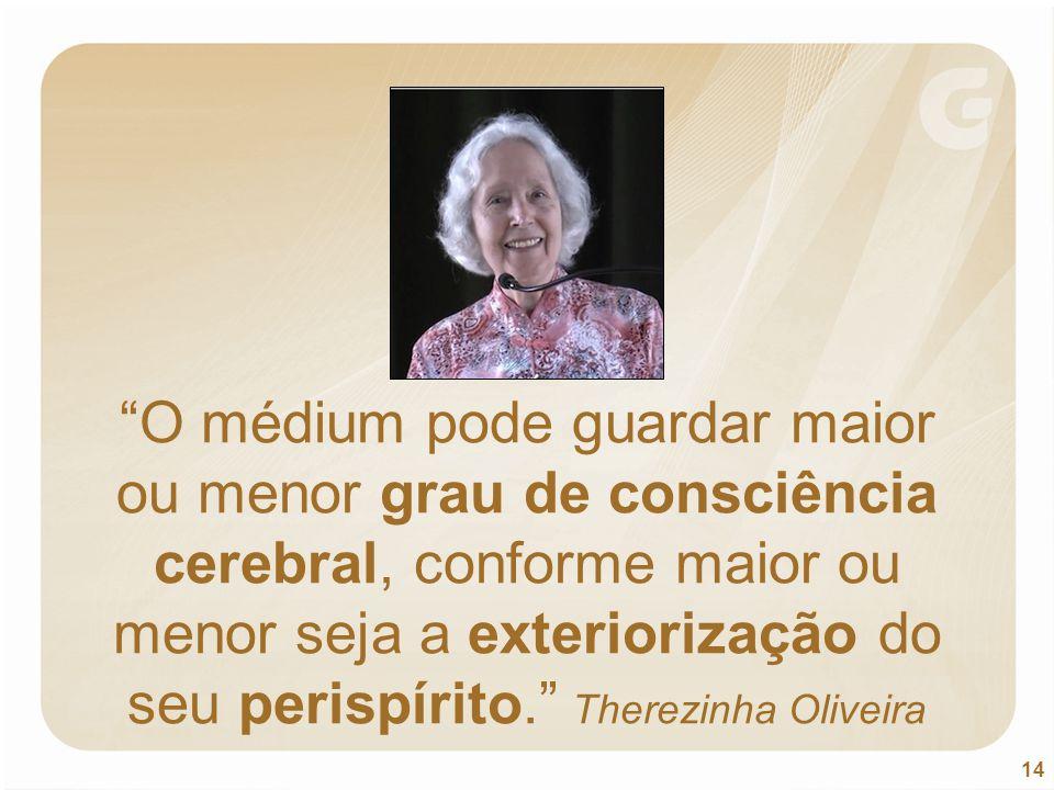 O médium pode guardar maior ou menor grau de consciência cerebral, conforme maior ou menor seja a exteriorização do seu perispírito. Therezinha Oliveira