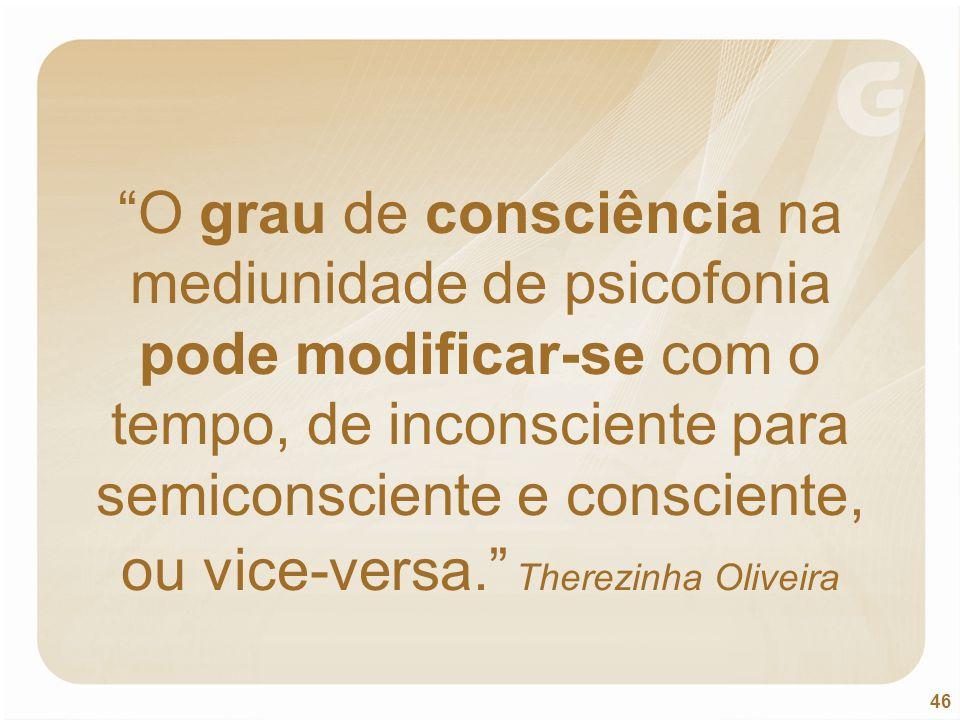 O grau de consciência na mediunidade de psicofonia pode modificar-se com o tempo, de inconsciente para semiconsciente e consciente, ou vice-versa. Therezinha Oliveira