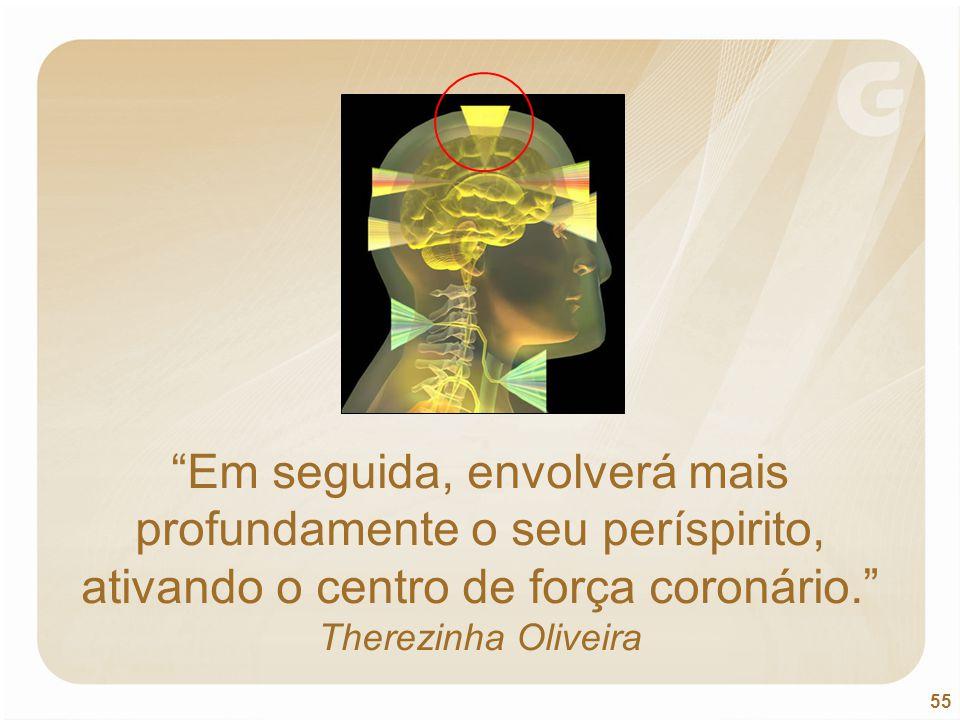 Em seguida, envolverá mais profundamente o seu períspirito, ativando o centro de força coronário. Therezinha Oliveira