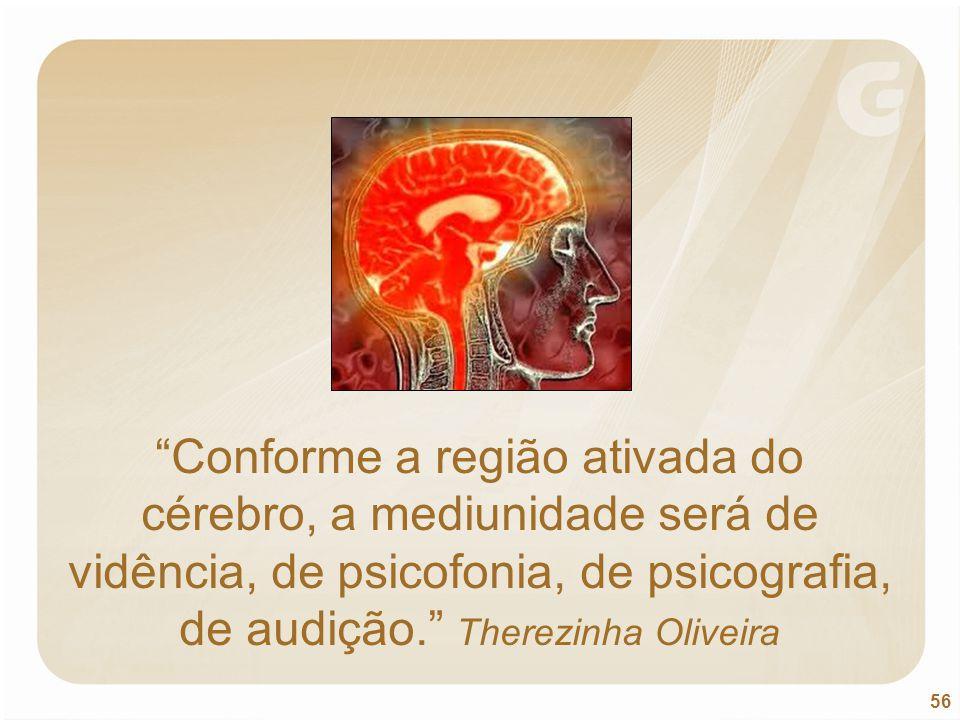 Conforme a região ativada do cérebro, a mediunidade será de vidência, de psicofonia, de psicografia, de audição. Therezinha Oliveira