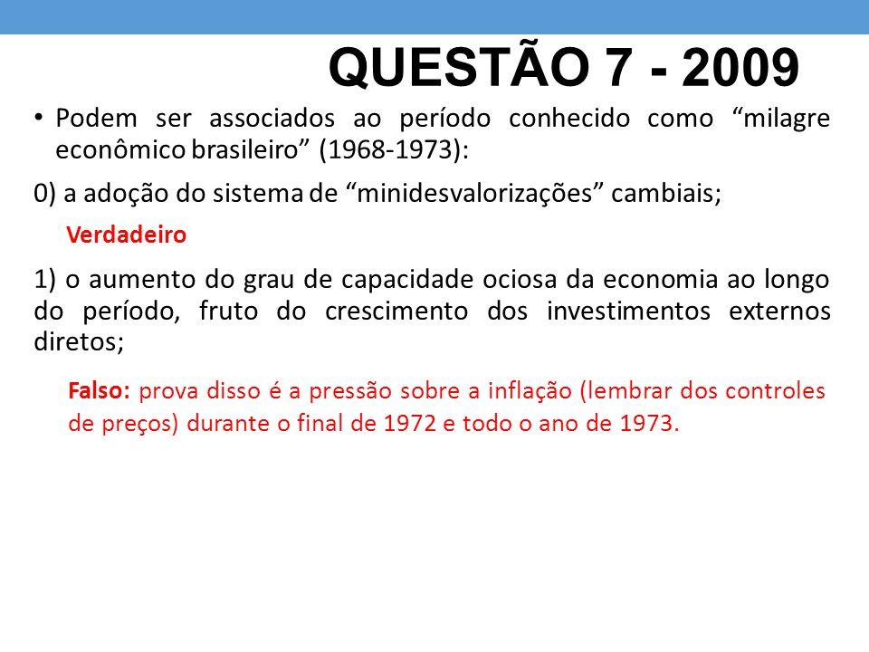 QUESTÃO 7 - 2009 Podem ser associados ao período conhecido como milagre econômico brasileiro (1968-1973):