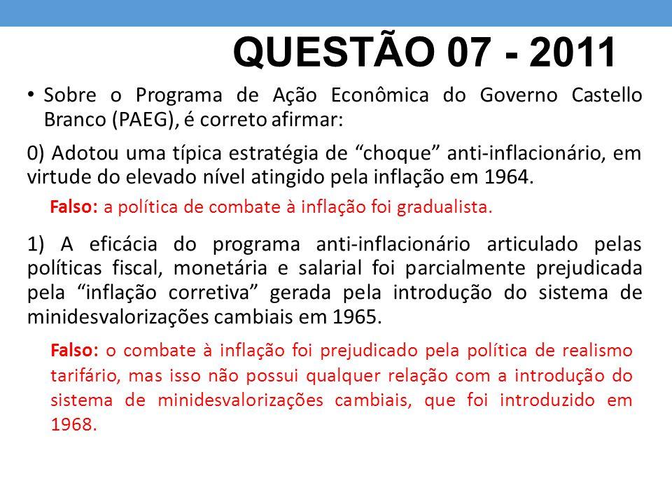 QUESTÃO 07 - 2011 Sobre o Programa de Ação Econômica do Governo Castello Branco (PAEG), é correto afirmar: