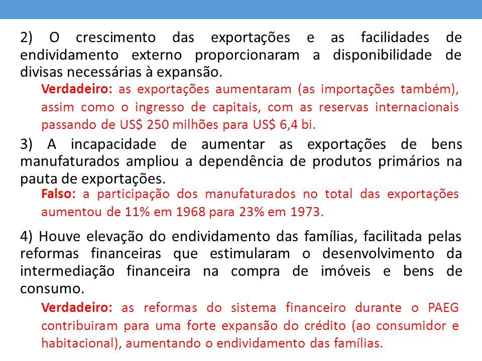 2) O crescimento das exportações e as facilidades de endividamento externo proporcionaram a disponibilidade de divisas necessárias à expansão.