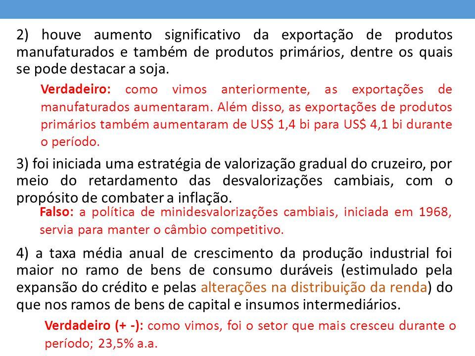 2) houve aumento significativo da exportação de produtos manufaturados e também de produtos primários, dentre os quais se pode destacar a soja.