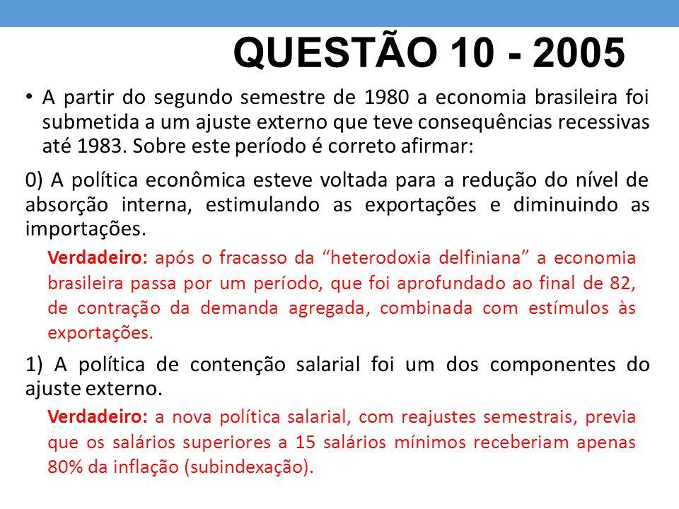 QUESTÃO 10 - 2005