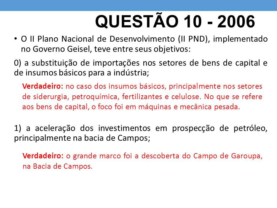 QUESTÃO 10 - 2006 O II Plano Nacional de Desenvolvimento (II PND), implementado no Governo Geisel, teve entre seus objetivos: