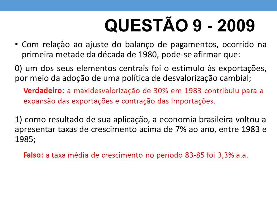 QUESTÃO 9 - 2009 Com relação ao ajuste do balanço de pagamentos, ocorrido na primeira metade da década de 1980, pode-se afirmar que: