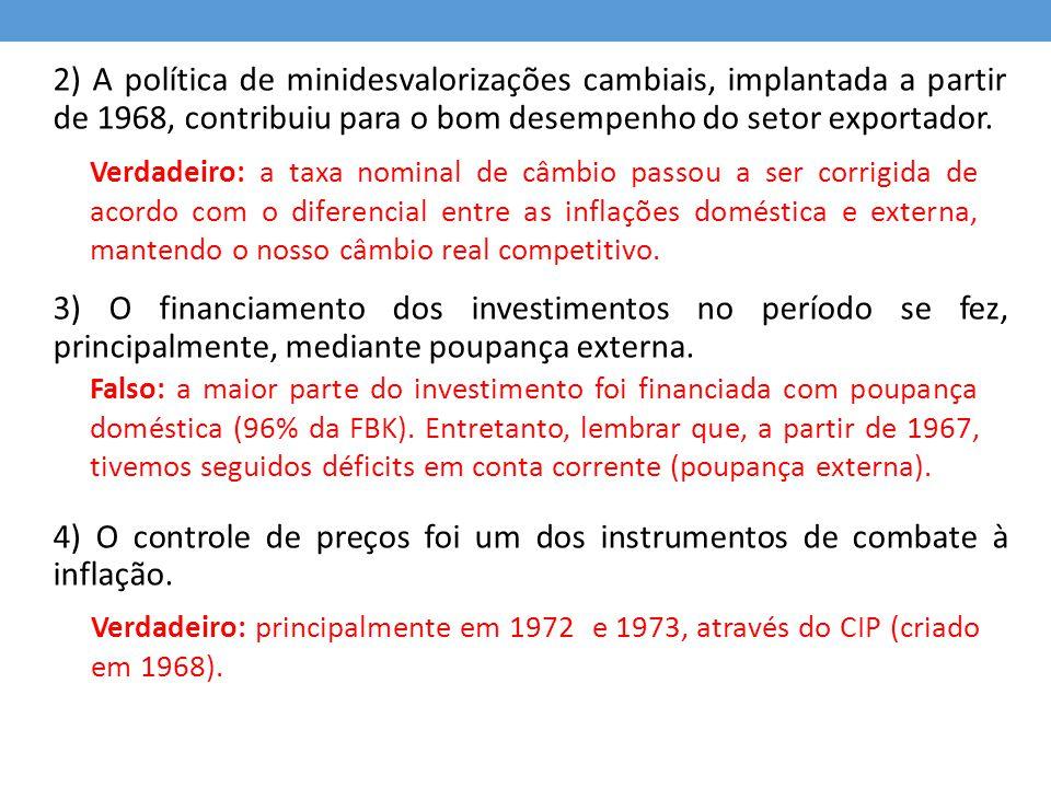 4) O controle de preços foi um dos instrumentos de combate à inflação.