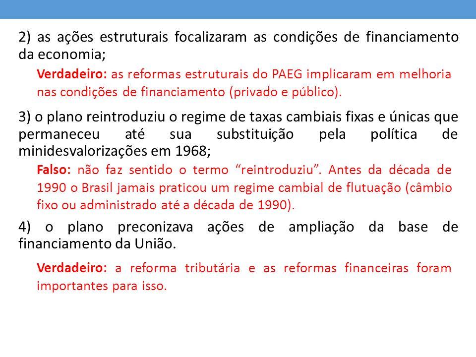 2) as ações estruturais focalizaram as condições de financiamento da economia;