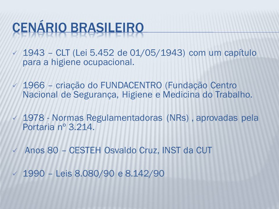 Cenário brasileiro 1943 – CLT (Lei 5.452 de 01/05/1943) com um capítulo para a higiene ocupacional.