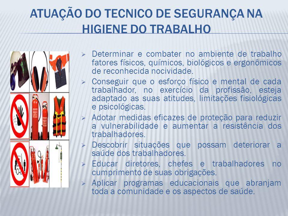 ATUAÇÃO DO TECNICO DE SEGURANÇA NA HIGIENE DO TRABALHO