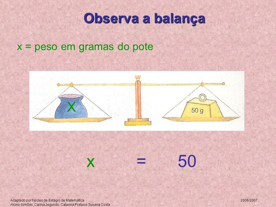 x = 50 Observa a balança X x = peso em gramas do pote