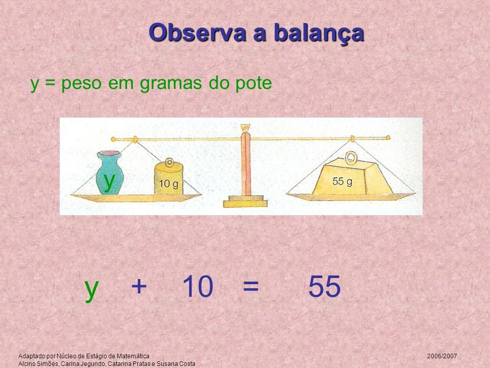 y + 10 = 55 Observa a balança y y = peso em gramas do pote