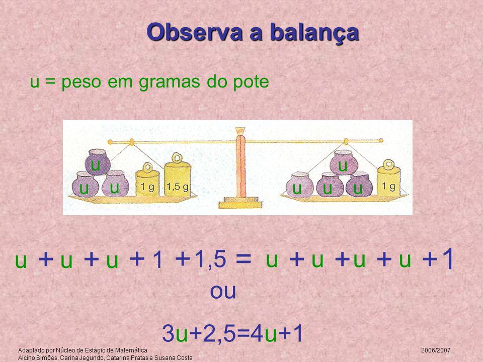 + + + + = 1 + + + + Observa a balança u u u 1 1,5 u u u u
