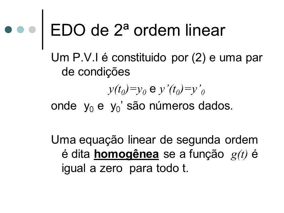 EDO de 2ª ordem linear Um P.V.I é constituido por (2) e uma par de condições. y(t0)=y0 e y'(t0)=y'0.