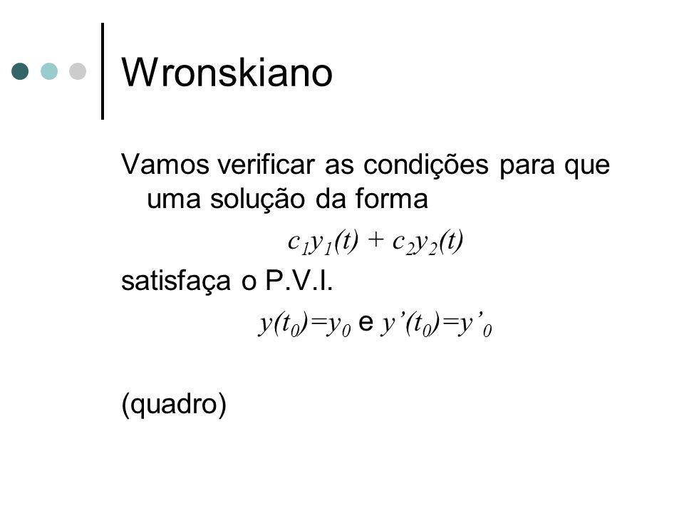 Wronskiano Vamos verificar as condições para que uma solução da forma