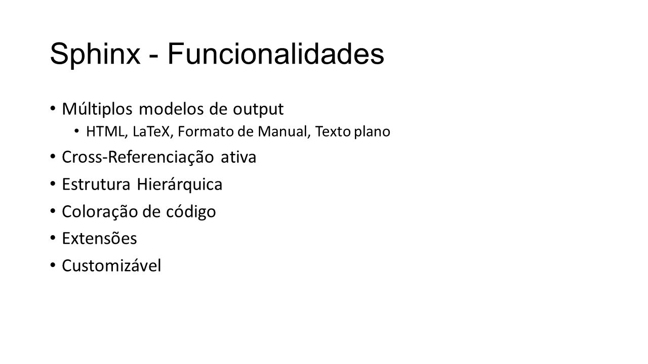 Sphinx - Funcionalidades