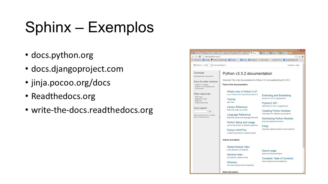Sphinx – Exemplos docs.python.org docs.djangoproject.com