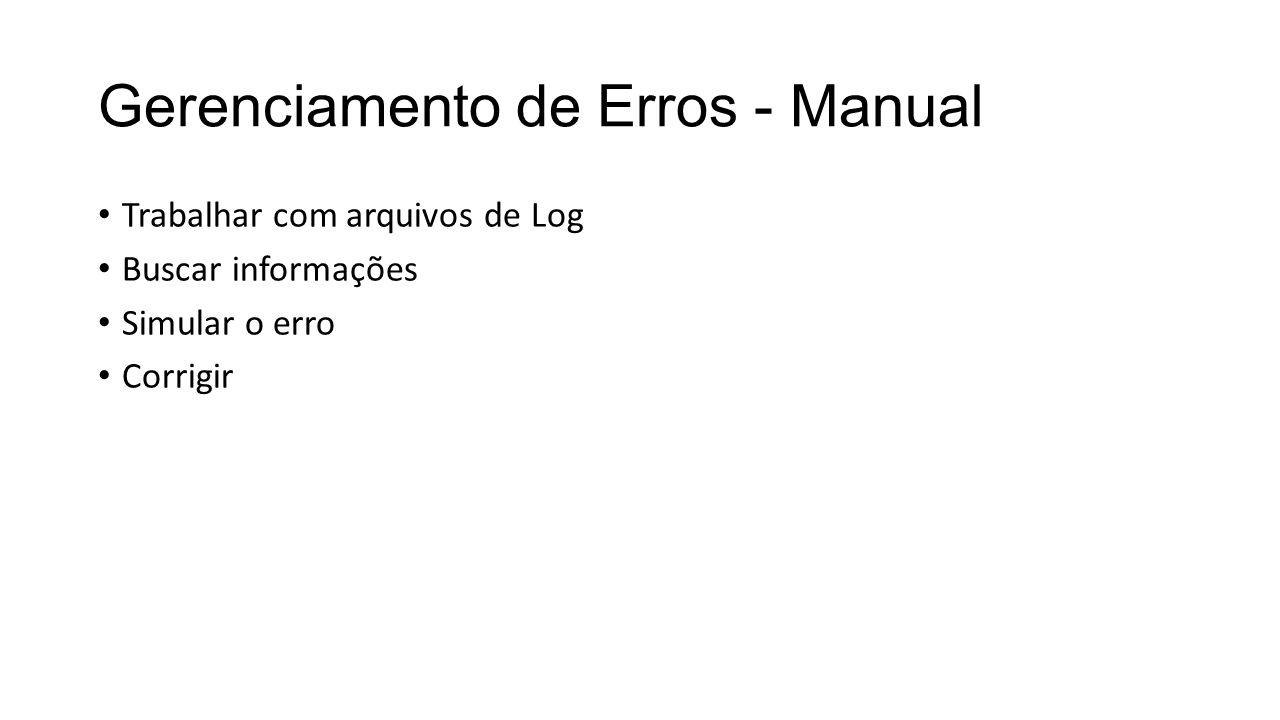 Gerenciamento de Erros - Manual
