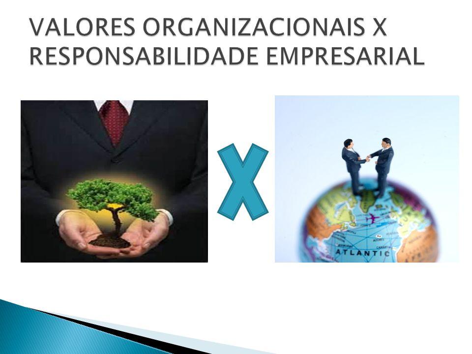 VALORES ORGANIZACIONAIS X RESPONSABILIDADE EMPRESARIAL